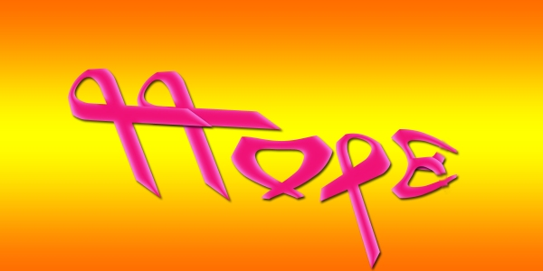 The word HOPE spelled with pink bows