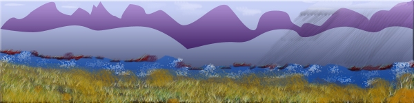 Drawing of grass, water and mountains with storm cloud and rain