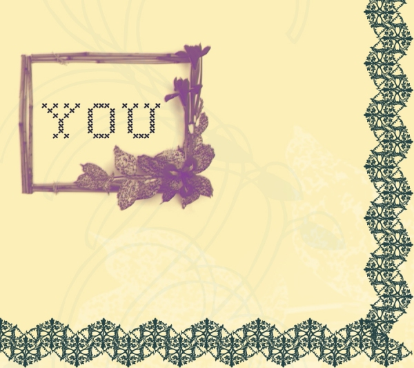 YOU in needlework font framed with bamboo, orchid and zig zag