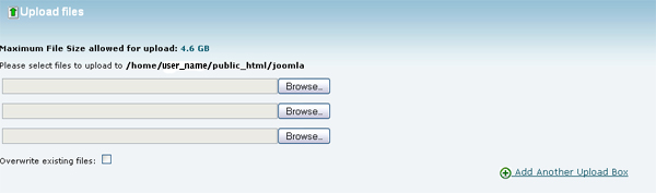 Image of the C-Panel upload file page