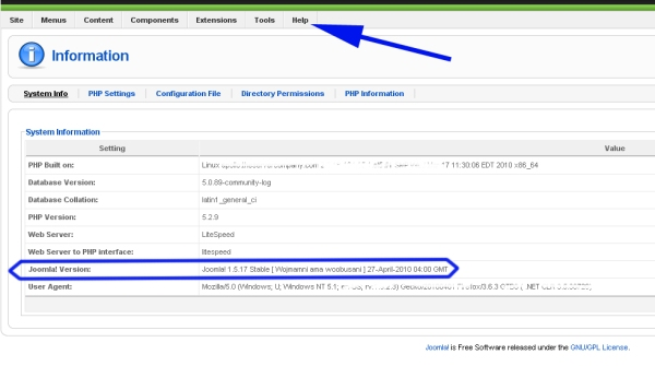 Image of Joomla Administrator System Information