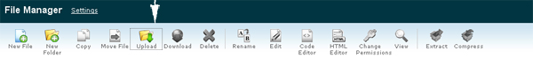 Picture of the C-Panel top option bar with arrow on Upload button