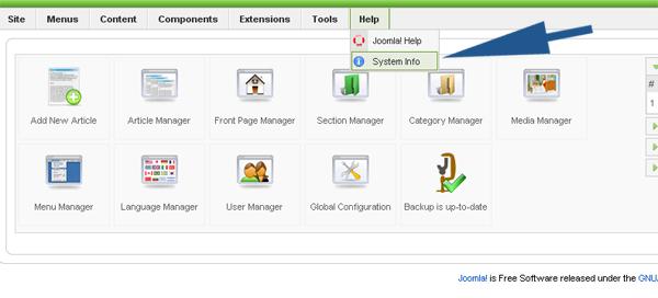 Find the current Joomla 1.5 version of your website