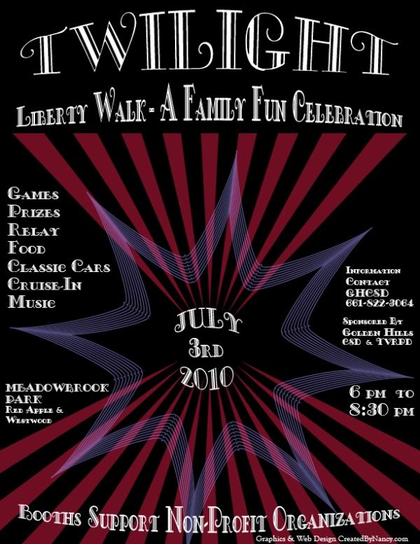 Patriotic design for annual Tehachapi Twilight Walk